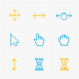 Pixel colorful cursors icons on white.Vector Illustration. Royalty Free Stock Photography