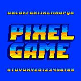 Pixel computer game alphabet font. Digital gradient letters and numbers. 80s arcade video game typeset Vector Illustration