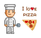 Pixel concept for pizzeria. Royalty Free Stock Photos