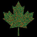 Pixel Confetti of colorful shades falling maple leafs. Mosaic print. For advertising booklets about the sale, covers, posters, inv Royalty Free Stock Image
