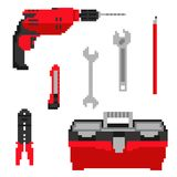 Pixel construction tools icons illustration Stock Images