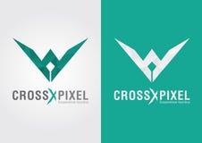 Pixel croisé Une conception et une couleur modernes d'icône de forme de style Photo libre de droits