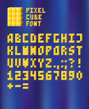 Pixel cube font. 3D pixel font with shiny yellow cubes Royalty Free Stock Images
