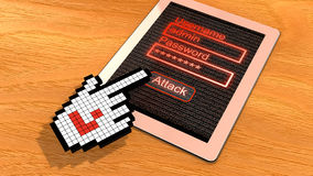 Pixel cursor hacking tablet Royalty Free Stock Images