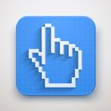 Pixel cursor icon click mouse hand Royalty Free Stock Image