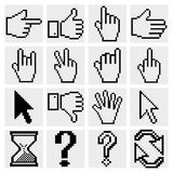 Pixel cursor icons. Cursor hands. Vector Royalty Free Stock Image