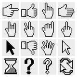 Pixel cursor icons Royalty Free Stock Image