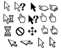 Pixel cursor icons in black and white. Pixelated graphic cursor icons of arrows, mouse hands, question marks, hourglasses, access denied for software interface Stock Image