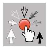 Pixel cursor icons: mouse hand and arrow pointers Royalty Free Stock Photos