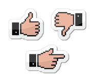 Pixel cursor icons - thumb up, like it, pointing h. Website black pixelated pointers - hand cursor, share, thumb up Royalty Free Stock Photos