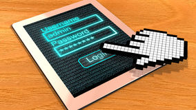 Pixel cursor login tablet Royalty Free Stock Photography