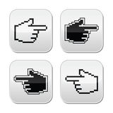 Pixel cursor poiting hands buttons icons. Web black pixelated pointer isolated on white Stock Image
