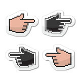 Pixel cursor poiting hands  icons. Web black pixelated pointer labels isolated on white Stock Photo