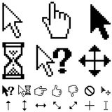 Pixel cursors. Standard pixel cursors  set isolated on white Royalty Free Stock Photo