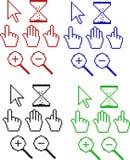 Pixel cursors. Color cursors in pixels.Icons Stock Images