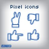 Pixel cursors blue icons set - hand and arrow Royalty Free Stock Images