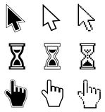 Pixel cursors icons-arrow, hourglass, hand mouse. Stock Photos