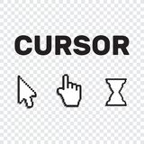Pixel cursors icons mouse hand arrow. Mouse computer cursor. Han. D arrow web cursor set Stock Image