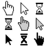 Pixel cursors icons Stock Image