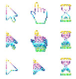 Pixel cursors icons- mouse hand arrow hourglass. Royalty Free Stock Photography
