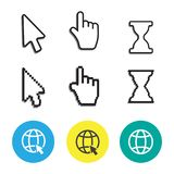 Pixel cursors icons mouse hand arrow. Mouse computer cursor. Han. D arrow web cursor set Royalty Free Stock Images