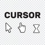 Pixel cursors icons mouse hand arrow. Mouse computer cursor. Han. D arrow web cursor set Stock Photo