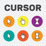 Pixel cursors icons mouse hand arrow. Mouse computer cursor. Han. D arrow web cursor set Royalty Free Stock Photo