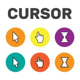 Pixel cursors icons mouse hand arrow. Mouse computer cursor. Han. D arrow web cursor set Royalty Free Stock Photos