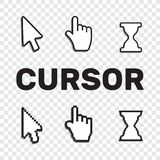Pixel cursors icons mouse hand arrow. Mouse computer cursor. Han. D arrow web cursor set Royalty Free Stock Image