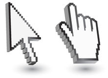 Pixel cursors icons: mouse hand arrow. Royalty Free Stock Photos