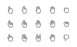 Pixel cursors icons: mouse hands. Royalty Free Stock Photos