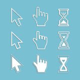Pixel cursors and outline icons: mouse hand arrow hourglass. Stock Image