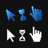 Pixel 3d cursors icons. Hand, Arrow, Hourglass Royalty Free Stock Photo