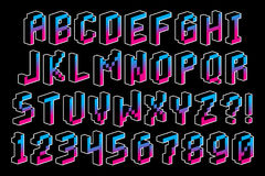 Pixel 3D Font Alphabet And Numbers Isolated Royalty Free Stock Photos