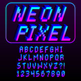 Pixel 3D Font Alphabet And Numbers Isolated. Vector Pixel 3D Font Alphabet And Numbers Isolated Stock Images
