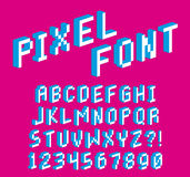 Pixel 3D Font Alphabet And Numbers Isolated. Vector Pixel 3D Font Alphabet And Numbers Isolated vector illustration