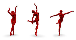 Pixel dancers. 3D render of pixelated female dancing figure in three different poses Stock Image