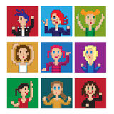 Pixel dancing girls. Set of dancing pixel girls avatar stock illustration