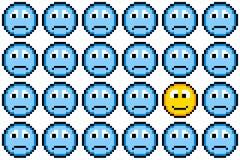 pixel de 8 bits Art Sad Faces y una cara feliz Imagenes de archivo