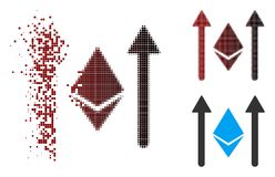 Pixel de dissolution Ethereum tramé Crystal Send Arrows Icon Illustration de Vecteur