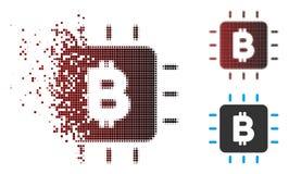 Pixel decomposto Bitcoin di semitono Chip Icon Immagine Stock Libera da Diritti