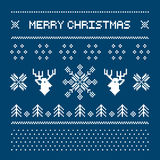 Pixel deers and christmas trees on the white background Royalty Free Stock Photos