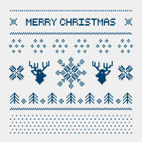 Pixel deers and christmas trees on the white background Royalty Free Stock Images