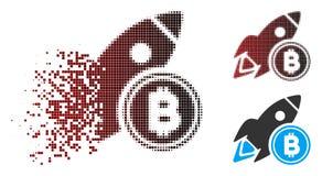 Pixel di scomparsa Bitcoin di semitono Rocket Icon Immagine Stock