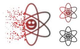 Pixel dispersé Atom Icon heureux tramé illustration libre de droits