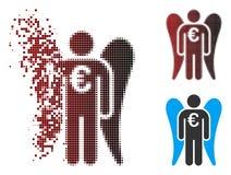 Pixel dispersé euro Angel Investor Icon tramé illustration de vecteur