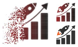 Pixel dispersé Rocket Growth Chart Icon de démarrage tramé Illustration de Vecteur