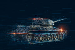 Pixel distortion of the combat vehicle. Pixel concept tank Royalty Free Stock Photos