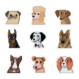 Pixel dogs. Set of pixel dogs icons stock illustration
