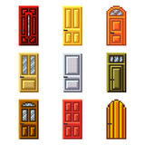 Pixel doors for games icons vector set Royalty Free Stock Images